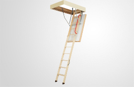 Wooden folding thermally insulated attic ladders